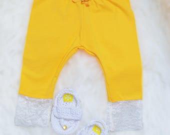 Baby Leggings, Yellow Lace Leggings, Organic