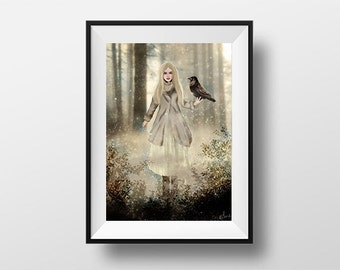 Poster Ylva witch-Digital Illustration printed on A4 photo paper