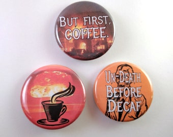 Coffee Fanatic - Set of 3 pinback buttons