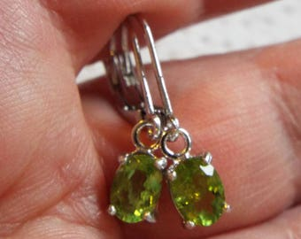 Reserved for Christine**Natural Green Peridot Leverback Earrings 1.630 carats in 925 Sterling Silver**Reserved for Christine**Reserved**