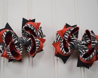 Zebra Print Pigtail Set - Animal Print Hairbows - Zebra Print Hair Bows - Safari Accessories- Zebra Print Accessories - Safari Baby Shower