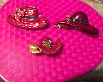 Lot of 3 Red hat society hat  brooches/pins