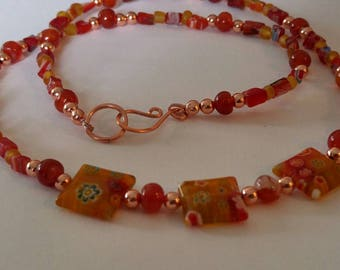 Agate and Amber Millefiori Necklace