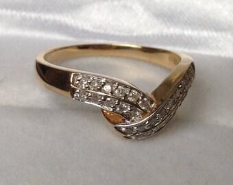 9ct Diamond (.25ct) Wishbone Ring, Pave Set Diamonds  - Size  6 1/4 - M 1/2