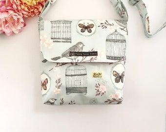 Bird cage purse, bird handbag, bird print, baby blue bag, bird gifts, crossbody bags, fabric bags, fabric handbags, oilcloth bag