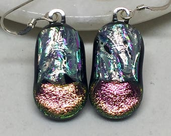 Earrings – Silver and Peach Dichroic Fused Glass Earrings