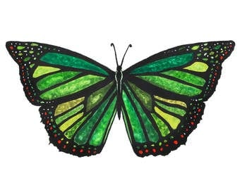 Forty Shades of Green -Butterfly Watercolor Painting - 5x7 Fine Art Print
