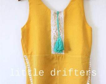 Gorgeous Mustard & Turquoise Tassle Playsuit Size 18-24 Months - 6 Years