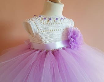 tutu dress,lavender tutu dress, wedding dress, flower girl dress, bridesmaid dress, crochet dress, baptism dress, crochet yoke dress