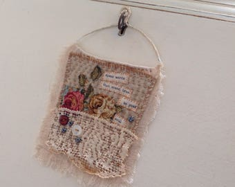 Sweet little 'stitchie' Original stiched textile Art wall hanging handmade