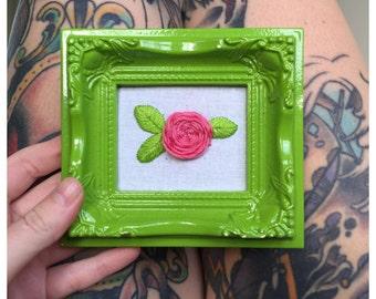 Rose framed embroidery