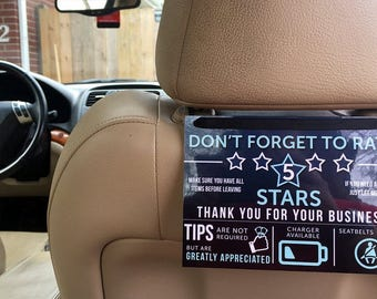 Uber Lyft Rating and Tip Sign for Rideshare Drivers, 5 Stars