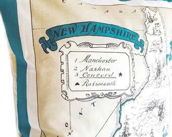 New Hampshire Vintage Map Piullow Cover with Insert
