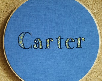 Personalized wall decor - Child's room decor - personalized embroidery