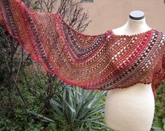 Crochet, scarf, shawl, scarf jagged, rust brown