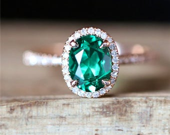 VS 6*8mm Oval Cut Lab Created Emerald Engagement Ring Stackable Ring 14K Rose Gold Engagement Ring Gemstone Ring Anniversary Ring