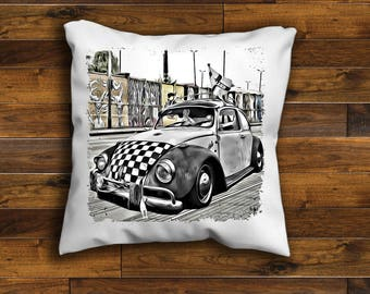 VW Beetle Cushion Cover Unique Design 16 or 18 inch  Handmade with a zip