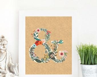 Instant Download Floral Ampersand And Sign Rustic Kraft | Bohemian  Floral Letter A | Nursery Art Home Decor Art Wedding Sign Love | Fl22
