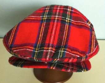 Wool Tweed Cap/Red Wool Cap/Tweed Hat/Tweed Golf Cap/Scottish Hat/Red Tweed Cap/Red Wool Cap/Golf Hat/Womens Cap/Womens Hat/Womens Red Hat