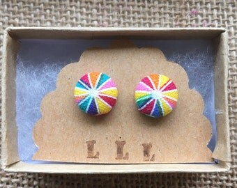 Rainbow Pinwheel -Cute and Quirky Handmade Fabric Stud Earrings, Hypoallergenic Titanium for Sensitive Ears