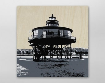 Seven Foot Knoll Lighthouse City Block Wood Print