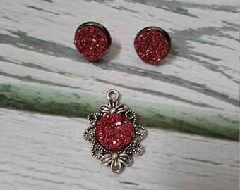 Pemberley Gardens Faux Druzy Gems Jewelry, Pink Glitter Druzy, Book Jewelry, Jane Austen, Classic Literature, Druzy Earrings, Druzy Pendant