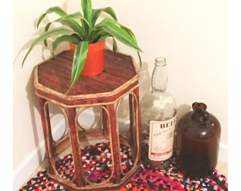 Vintage Bamboo Sidetable/ Plant Stand c.1970s