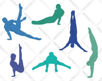 Boy Gymnast SVG. 6 Poses Clip Art for Scrapbooking for use in Cricut and Silhouette Studio and Vinly Projects. Digital Download