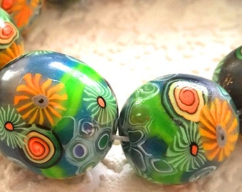 12 polymer clay beads, sea flowers, floral, orange, green, Rainbow, colorful beads, mix beads