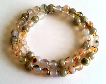 Precious stone chain common Opal, Labradorite, Pearl necklace, transparent, stainless steel,.