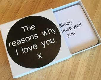 Reasons why I love you - matchbox - 10 personalised messages
