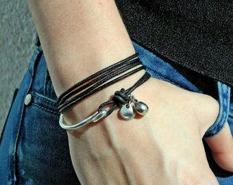 Wrap Boho bracelet,wrap bracelet,leather wrap bracelet,beaded wrap bracelet,leather bracelet, silver plated,beaded bracelet,PC022