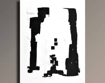 Large ABSTRACT PAINTING Black White Gray Painting Original Canvas Art Contemporary Modern Minimal Art 48x36 wall decor - Unstretched - 51WB