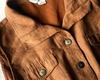 Vintage Brown Suede Vest // Suede Vest // Suede Blouse // Sleeveless // Classic // Upcycled Clothing