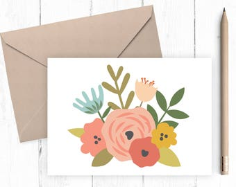 Floral Card Mothers Day Card Printable Card can be used for all occasions - blank inside -  floral blank printable card - print and go