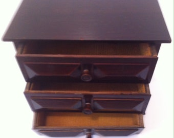 Vintage Wooden Musical Jewelry Box, 3 Pull Out Drawers, the Bottom one Makes the Music Come on When you Pull It Out, Wooden Jewelry Box