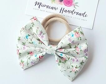Fabric Bow Headband - hair Clip - Nylon Headband - Trellis ivory bow
