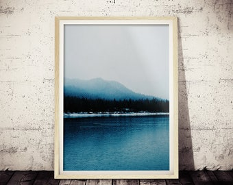 Modern Scandinavian Print, Winter Landscape Photography, Scandi Wall Art Decor, Snow Trees Forest, Nature Wilderness, Blue Art, Nature Decor