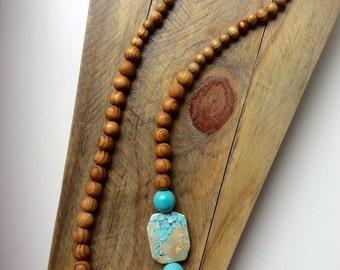Sandalwood & Aqua blue Magnestite long necklace
