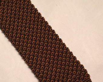 Vintage bronze knitted square end tie