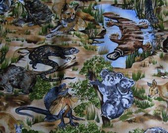 Australiana fabric printed with wombat, koala, platypus and other Australian animals