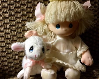 Precious Moments Angel and Lamb Doll Blond 7""