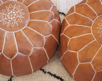 Set Of 2 Tan Moroccan Poufs, High Leather Quality, Ottoman