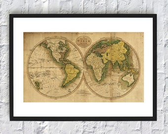 World map print vintage antique poster wall art decor 21x12 inch