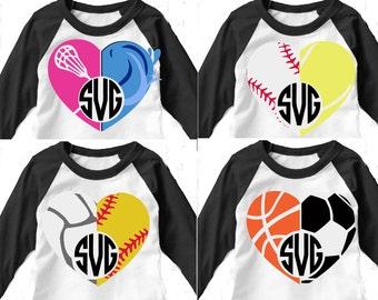 Multiple Sports balls, sports svg, sports heart, Basketball svg, volleyball svg, baseball svg, softball, soccer, tennis, swimming, lacrosse,
