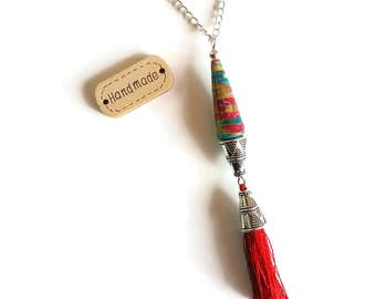 Necklace pendant Boho to Pompon - Pearl paper - Perle Artisanales - Bohemian ethnic - multicolor Red