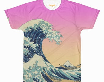 The Great Wave off Kanagawa Aesthetic Vaporwave All Over T-Shirt