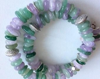 Memory Bracelet Amethyst and jade