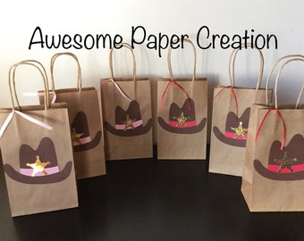 Western party bags,set of 10,cowboy party,cowboy birthday party, western favor bags,western goodie bags,cowboy goodie bags, cowboy treat bag