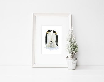 Penguin Framed watercolour print